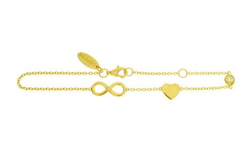 Leposa Armband gelb vergoldet Herz Infninity